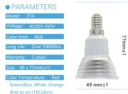 RGB LED КРУШКА С ДИСТАНЦИОННО УПРАВЛЕНИЕ E14  цокъл плоска за лунички  5W - 220 V В РАЗЛИЧНИ ЦВЕТОВЕ - СРЕБРИСТА