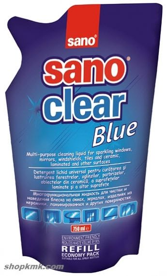 SANO CLEAR BLUE ПРЕПАРАТ ЗА ПОЧИСТВАНЕ НА ПРОЗОРЦИ РЕЗЕРВА  750ml
