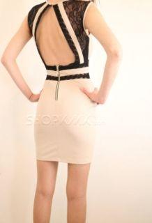 Дамска бежова рокля с черна дантела KIMI&CO PARIS 3385