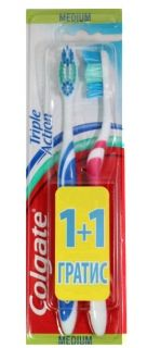 COLGATE TRIPLE ACTION Четка за зъби MEDIUM 1+1 ГРАТИС