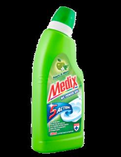 Medix Wc Power Gel 5 Actions Ябълка и Мента Почистващ препарат за тоалетни  500мл