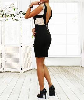 Дамска черна рокля с гол гръб KIMI&CO PARIS 003