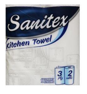 САНИТЕКС Кухненска ролка 2 ролки 3 пласта 72 къса размер 22*26 см.