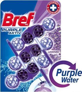 Ароматизатор за тоалетна Bref purple aktiv Lavender  3 бр *50 гр purple water