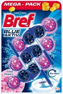 Ароматизатор за тоалетна Bref blue aktiv Fresh Flowers 3 бр *50 гр blue water