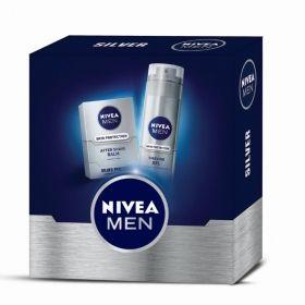Подаръчен комплект Nivea SILVER Балсам за след бръснене Skin Pprotection  100 мл+ Гел за бръснене  Skin Pprotection 200 мл