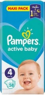 Pampers Active Baby S 4 9-14кг 58бр.