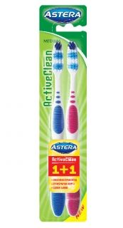ЧЕТКА ЗА ЗЪБИ ASTERA ACTIVE CLEAN - MEDIUM 1+1